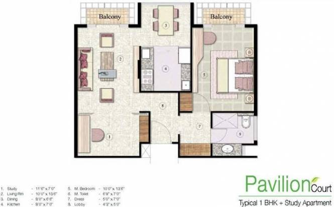 Jaypee The Pavilion Court (1BHK+1T (815 sq ft) + Study Room Apartment 815 sq ft)