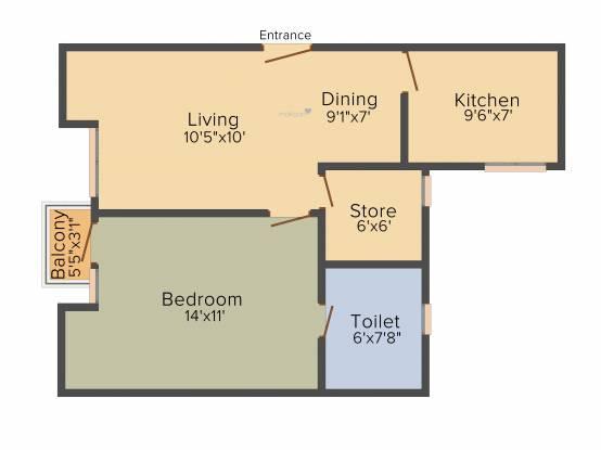 Unitech Uniworld Gardens 2 (1BHK+1T (719 sq ft) Apartment 719 sq ft)