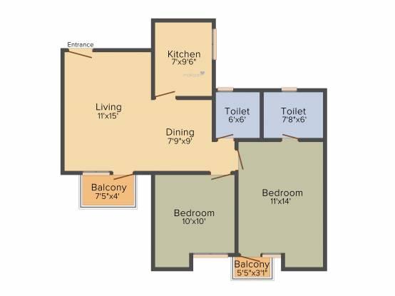 Unitech Uniworld Gardens 2 (2BHK+2T (973 sq ft) Apartment 973 sq ft)