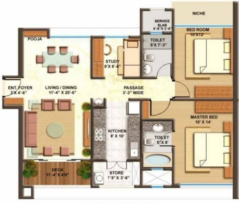 Lodha Imperia (2BHK+2T (1,233 sq ft)   Study Room Apartment 1233 sq ft)