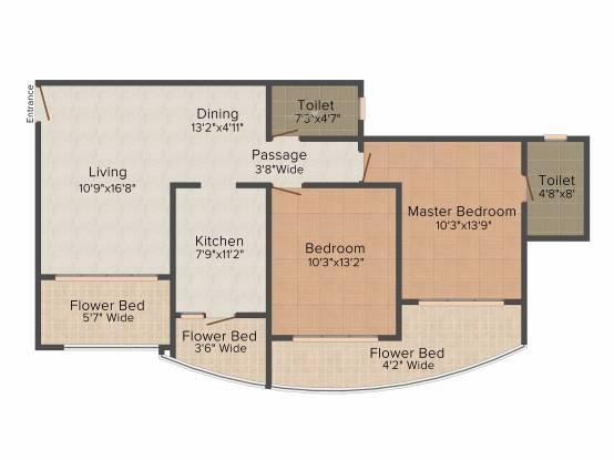 RNA Royale Park (2BHK+2T (1,260 sq ft) Apartment 1260 sq ft)