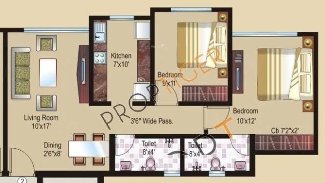 Sheth Athena (2BHK+2T (850 sq ft) Apartment 850 sq ft)