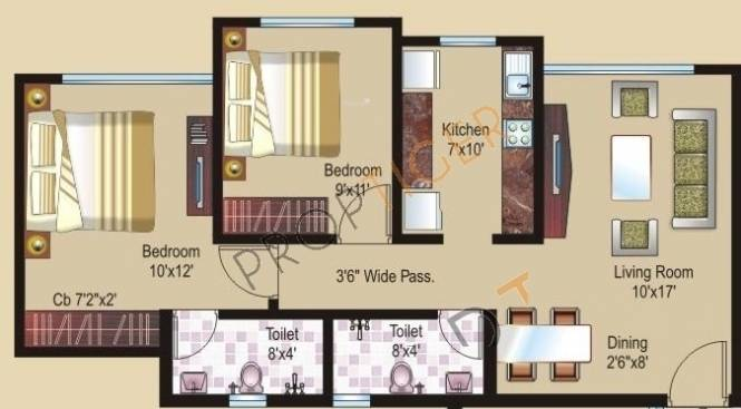 Sheth Athena (2BHK+2T (875 sq ft) Apartment 875 sq ft)