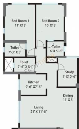 Sheth Grandeur (2BHK+3T (1,210 sq ft)   Study Room Apartment 1210 sq ft)