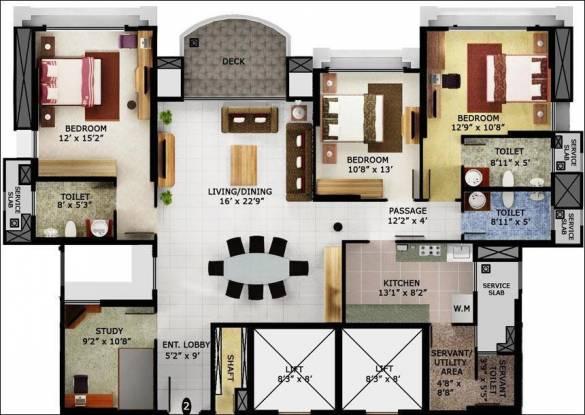 Mahindra Eminente (3BHK+4T (2,300 sq ft)   Study Room Apartment 2300 sq ft)