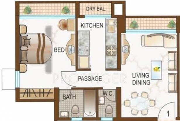 Dynamix Parkwoods (1BHK+1T (710 sq ft) Apartment 710 sq ft)
