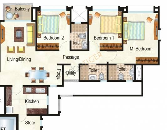 Hiranandani Heritage (3BHK+3T (1,570 sq ft) Apartment 1570 sq ft)