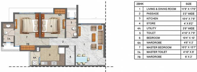 Lodha Luxuria (2BHK+2T (1,044 sq ft) Apartment 1044 sq ft)