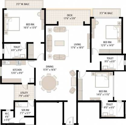Shipra Srishti (3BHK+3T (2,500 sq ft)   Servant Room Apartment 2500 sq ft)