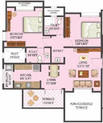 OM Vista Residency (2BHK+2T (994 sq ft) Apartment 994 sq ft)