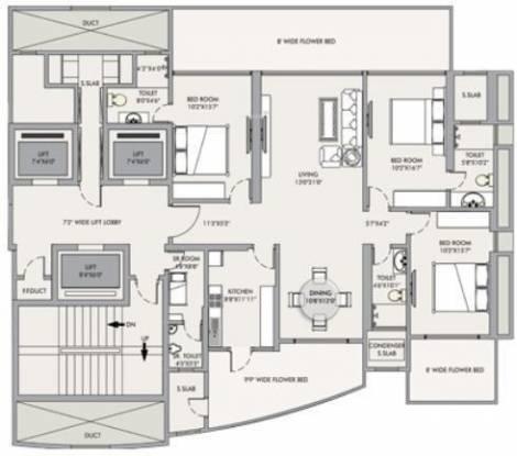 RNA Mirage (3BHK+3T (2,580 sq ft) Apartment 2580 sq ft)