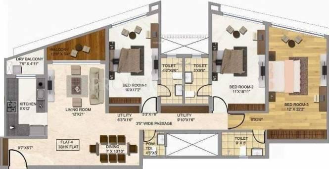 Rustomjee Oriana (3BHK+2T (2,538 sq ft) Apartment 2538 sq ft)