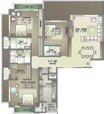 Lodha Costiera (3BHK+3T (1,450 sq ft) Apartment 1450 sq ft)