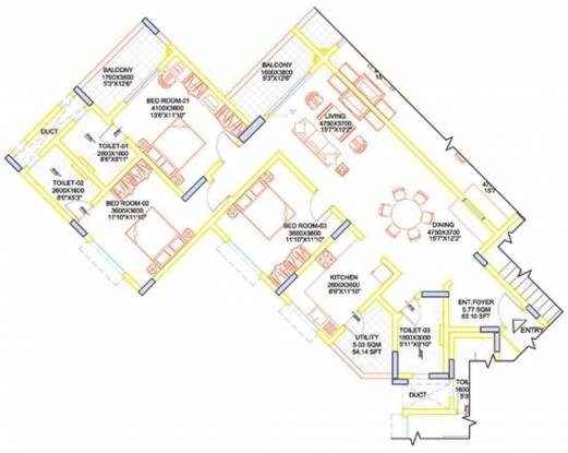 Sobha Moonstone (2BHK+2T (1,455 sq ft) Apartment 1455 sq ft)