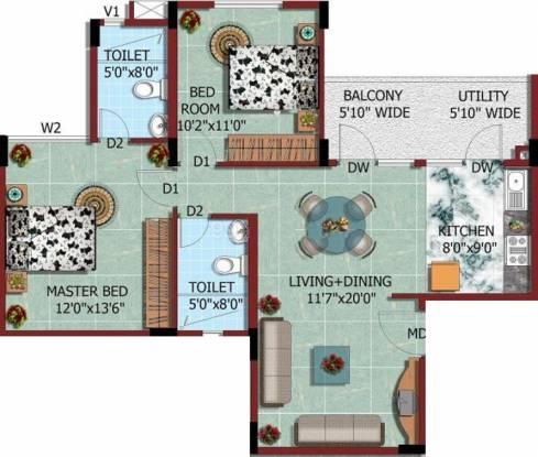 HM North City (2BHK+2T (982 sq ft) Apartment 982 sq ft)