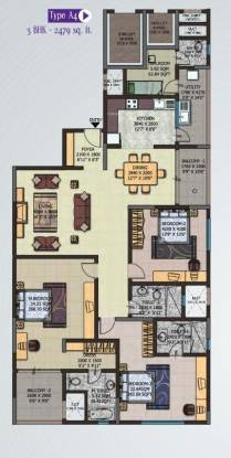 Sobha Petunia (3BHK+4T (2,479 sq ft) + Servant Room Apartment 2479 sq ft)
