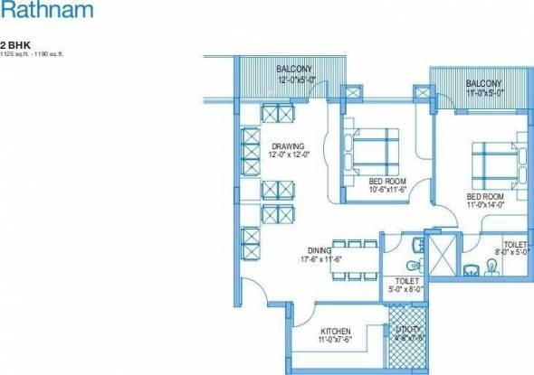 Vaishnavi Rathnam (2BHK+2T (1,190 sq ft) Apartment 1190 sq ft)