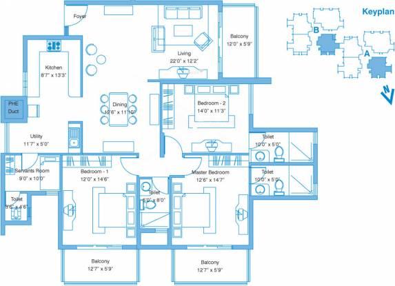 Vaishnavi Splendour (3BHK+3T (2,174 sq ft)   Servant Room Apartment 2174 sq ft)