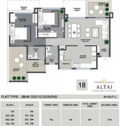 Phadnis Eastern Ranges (2BHK+2T (1,134 sq ft) Apartment 1134 sq ft)