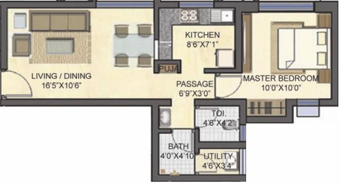 Lodha Casa Bella (1BHK+1T (585 sq ft) Apartment 585 sq ft)
