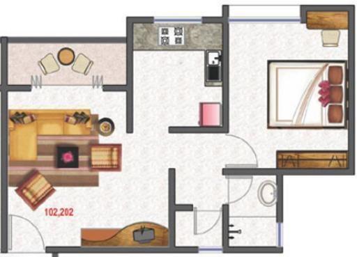 OM Angel Hills (1BHK+1T (598 sq ft) Apartment 598 sq ft)