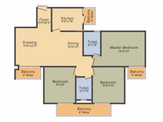 BPTP Park Generation (3BHK+2T (1,470 sq ft) Apartment 1470 sq ft)