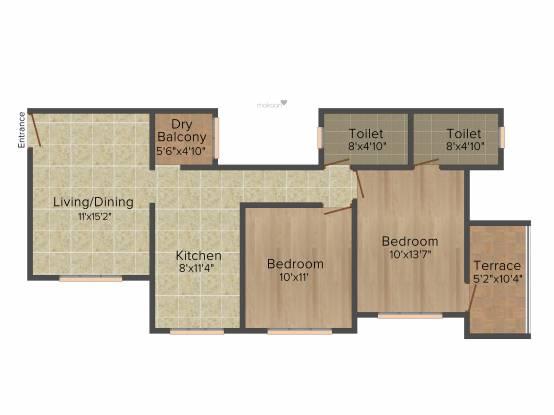 Kumar Purva (2BHK+2T (945 sq ft) Apartment 945 sq ft)