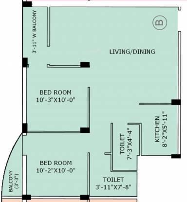 Jain Dream Apartments (2BHK+2T (1,010 sq ft) Apartment 1010 sq ft)