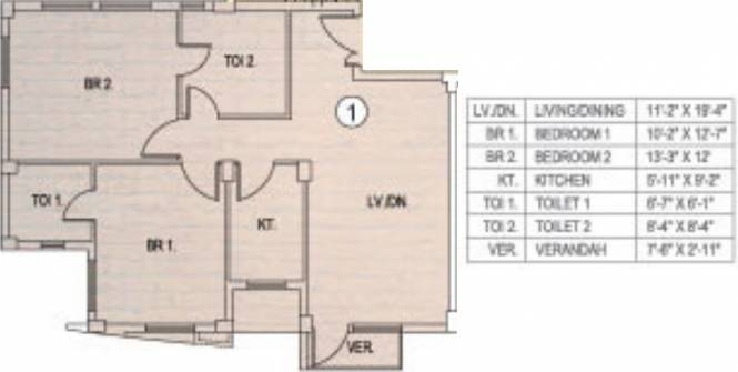 Fort Sunny Fort (2BHK+2T (1,115 sq ft) Apartment 1115 sq ft)