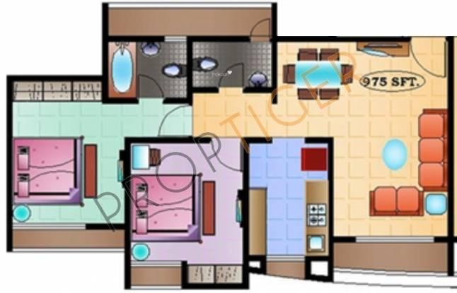 SD Prity Park (2BHK+2T (935 sq ft) Apartment 935 sq ft)