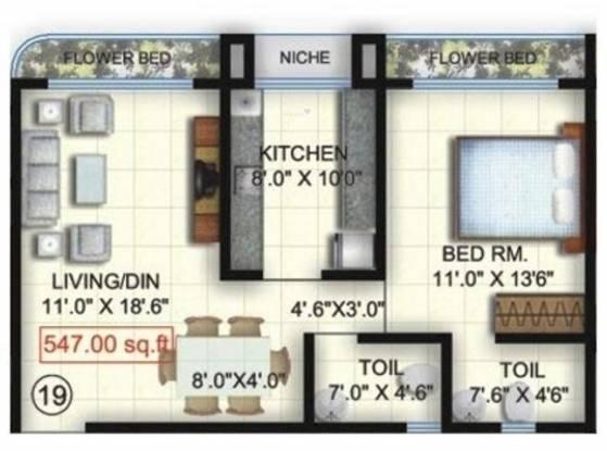Sagar Avenue 2 (1BHK+1T (1,023 sq ft) Apartment 1023 sq ft)
