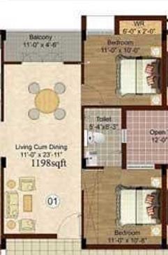 Isha Yara (2BHK+1T (939 sq ft) Apartment 939 sq ft)