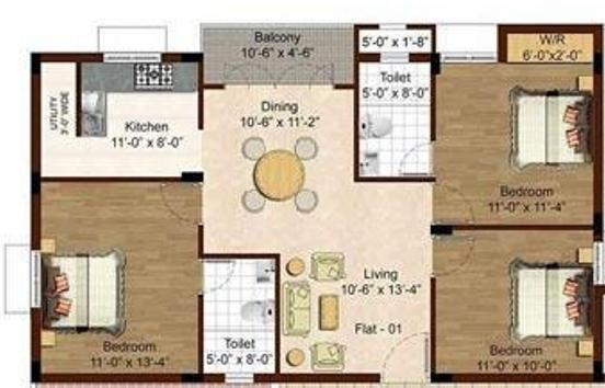 Isha Yara (3BHK+2T (1,133 sq ft) Apartment 1133 sq ft)