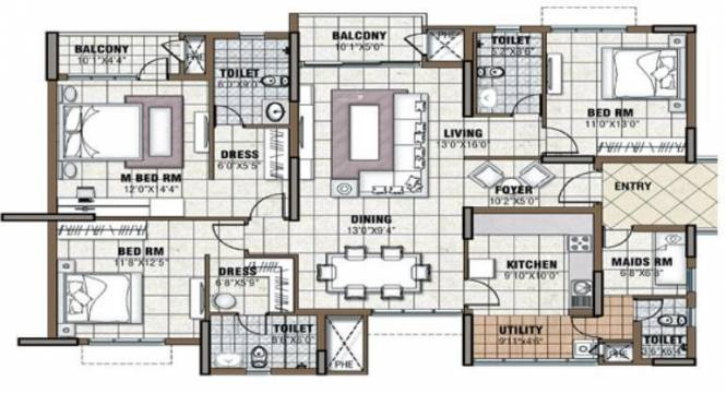 Prestige Tranquility (3BHK+3T (1,991 sq ft)   Servant Room Apartment 1991 sq ft)