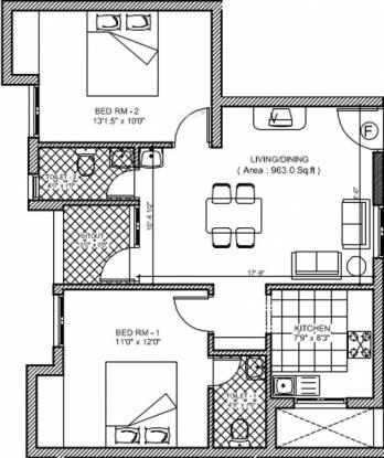 Jasmine Varshana Flats (2BHK+2T (963 sq ft) Apartment 963 sq ft)