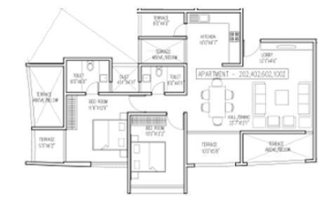 BramhaCorp Vantage High A (2BHK+2T (1,108 sq ft) Apartment 1108 sq ft)