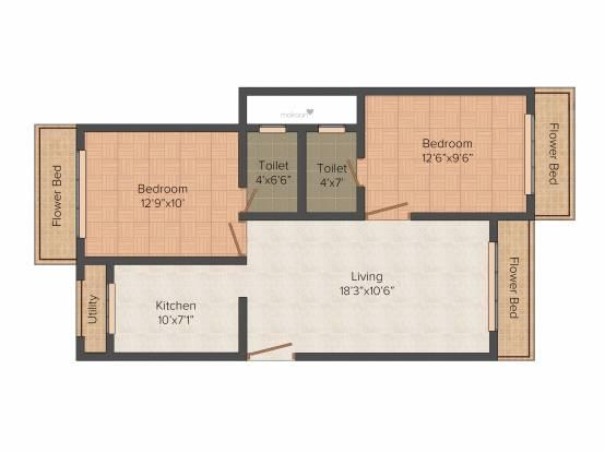 Kamanwala Manavsthal (2BHK+2T (950 sq ft) Apartment 950 sq ft)