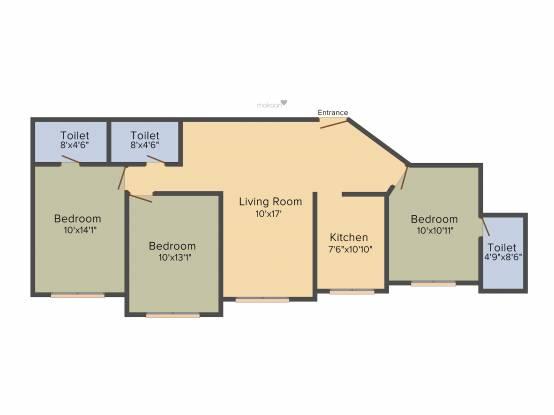 Raheja Interface Heights (3BHK+3T (1,540 sq ft) Apartment 1540 sq ft)