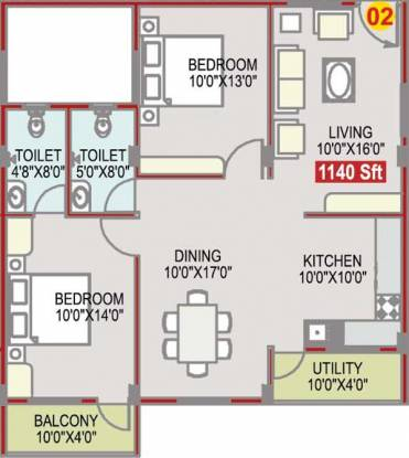 Radiant Shine (2BHK+2T (1,140 sq ft) Apartment 1140 sq ft)