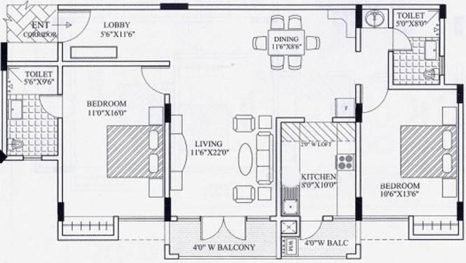 Gopalan Grandeur (2BHK+2T (1,415 sq ft) Apartment 1415 sq ft)