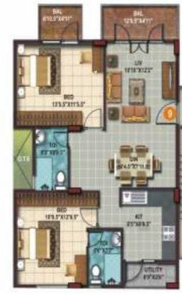 SLS Springs (2BHK+2T (1,043 sq ft) Apartment 1043 sq ft)