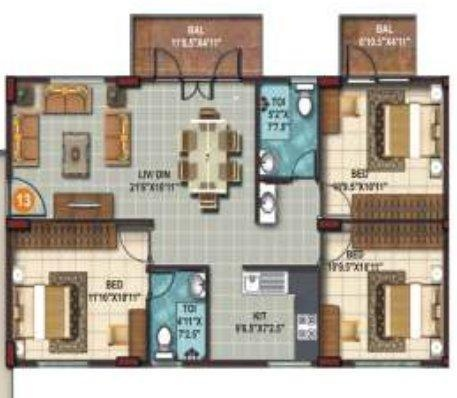 SLS Springs (3BHK+2T (1,661 sq ft) Apartment 1661 sq ft)