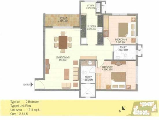 Prestige Silver Dale (2BHK+2T (1,311 sq ft) Apartment 1311 sq ft)