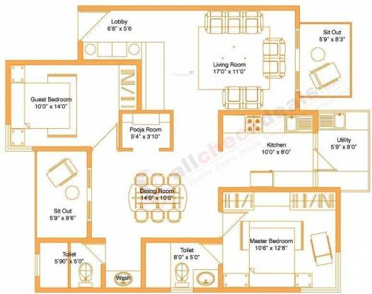 Vaishnavi Sarovar (2BHK+2T (1,350 sq ft)   Pooja Room Apartment 1350 sq ft)