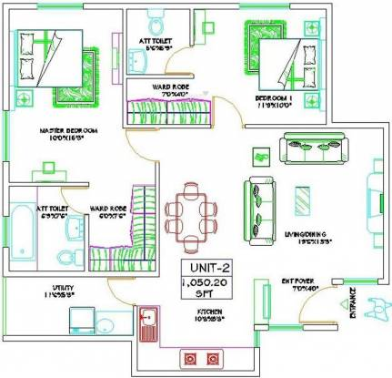 Honeycomb Silver Wood Enclave (2BHK+2T (1,050 sq ft) Apartment 1050.2 sq ft)