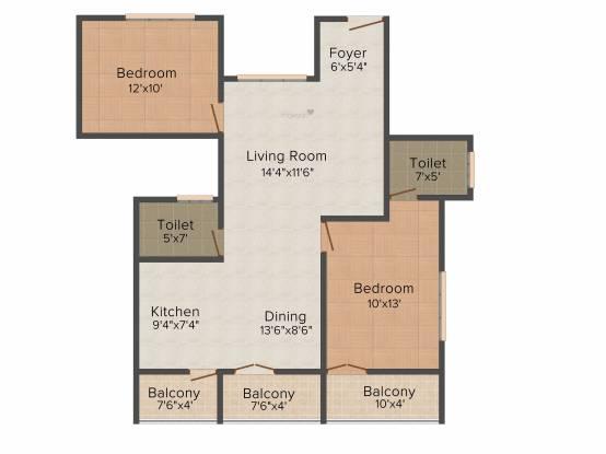 Prasiddi (2BHK+2T (1,075 sq ft) Apartment 1075 sq ft)