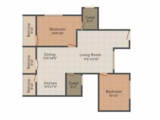 Prasiddi (2BHK+2T (1,080 sq ft) Apartment 1080 sq ft)