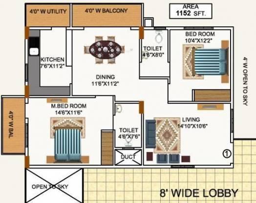 Mana Pristine (2BHK+2T (1,152 sq ft) Apartment 1152 sq ft)