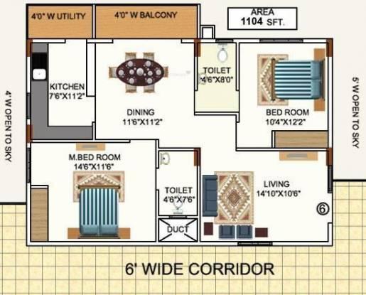 Mana Pristine (2BHK+2T (1,104 sq ft) Apartment 1104 sq ft)