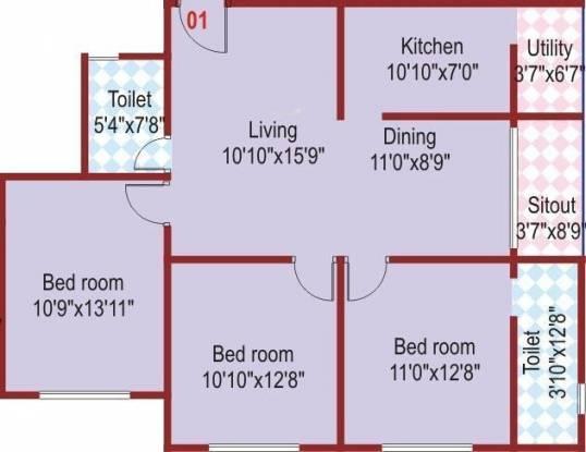 SLS Splendor (3BHK+2T (1,226 sq ft) Apartment 1226 sq ft)
